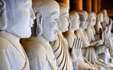 IBLGZS01640138 Alabaster statues inside the Chua Bai Dinh pagoda, currently a construction site, to become one of the largest pagodas of Southeast Asia, near Ninh Binh, Vietnam, Southeast Asia