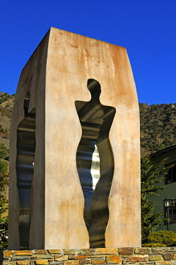 IBLGVA01891285 Sculpture to commemorate the proclamation of the Constitution of Andorra in 1993, by the artist Emili Armengol, Casa de la Vall, Barri Antic, Andorra La Vella, Andorra
