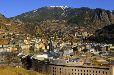 IBLGVA01911055 View over Escaldes-Engordany with the Caldea Thermal Spa as a landmark, Principality of Andorra