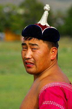 IBLGVA00791545 Traditional Mongolian wrestler, Ulan Bator or Ulaanbaatar, Mongolia