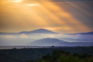 KEN10153 Kenya, Laikipia.  Early morning scene in Laikipia with hills and low clouds.