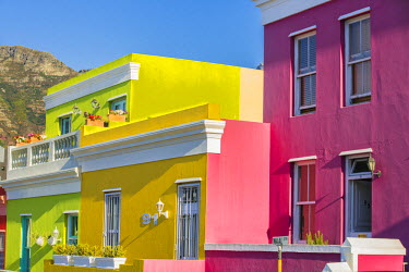 SAF6530 South Africa, Western Province, Cape Town. Brightly coloured houses in the Bo-Kaap area of Cape Town, formerly known as the Malay Quarter.
