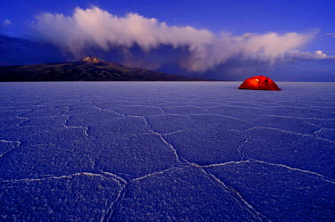 IBLSEI02159339 Salt lake with a tent during the blue hour, Salar de Uyuni, Uyuni, Bolivia