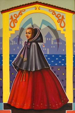 IBLGAB01061642 Painting of the famous slave courtesan Chica da Silva, Diamantina, Minas Gerais, Brazil
