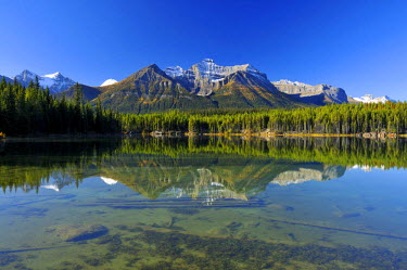 IBLGZS01010467 Reflection of the Rocky Mountains in Herbert Lake, Banff National Park, Alberta, Canada