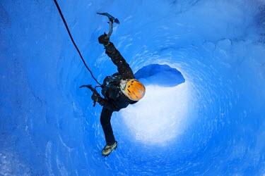 IBLVCH03581464 Ice climbing in an ice cave or glacier cave, glacier crossing, Grey Glacier, Torres del Paine National Park, Chile