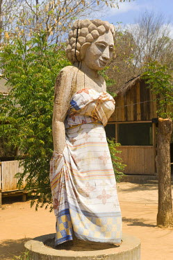 IBLGAB01413392 Statue in traditional dress, Morondava, Madagascar, Africa
