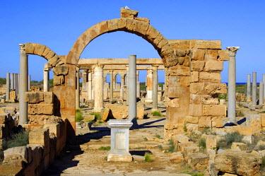 IBLGUF00234180 Ancient market place, Roman ruins of Leptis Magna, Libya, Africa