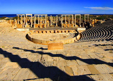 Curved rows of seats, theatre, Roman ruins, Leptis Magna, Libya, Africa