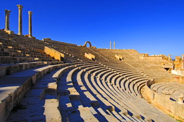 IBLGUF00234192 Curved rows of seats, theatre, Roman ruins, Leptis Magna, Libya, Africa