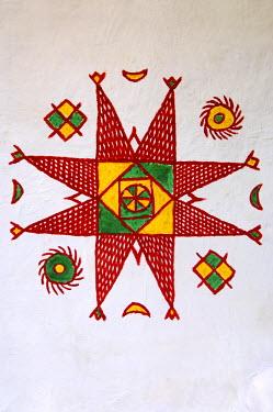 IBLGUF00564180 Wall decoration in a traditional Lbyen house, Ghadames, Libya, Africa