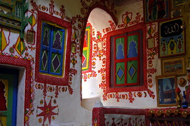 Living room in a traditional Libyen house, Ghadames, Libya, Africa