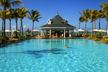 IBLGUF00611402 Swimming pool, Resort Le Telfair, Mauritius, Africa