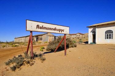 IBLHAN01066764 Town limits sign in Kolmanskop, Namibia, Africa