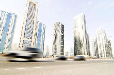 IBLDJS01077344 Skyline of Dubai, cars, Dubai, United Arab Emirates
