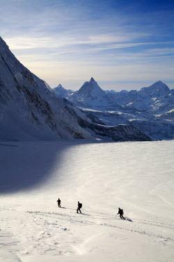INT00926541 Switzerland, Matterhorn, Cervin (4478m) and skiing the Grenxgletscher glacier, Zermatt, Valais,