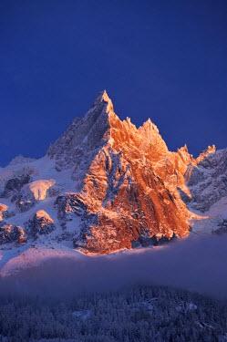 INT00926760 France, Aiguille de Blaitiere (3522m) at sunrise, Chamonix,