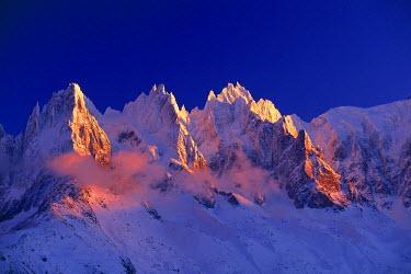 INT00926769 France, Aiguilles de Chamonix at sunrise, Chamonix,