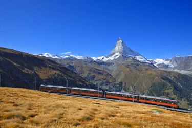 INT00926806 Switzerland, Matterhorn, Cervin (4478m) and Gornergrat train, Zermatt, Valais,