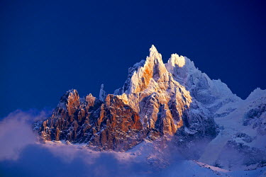 INT00926933 France, Aiguille des Grands Charmoz (3445m) at sunrise, Chamonix,