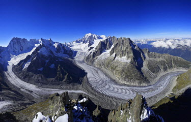 INT00926985 France, The Mer de Glace glacier in summer, Chamonix, Mont-Blanc range,