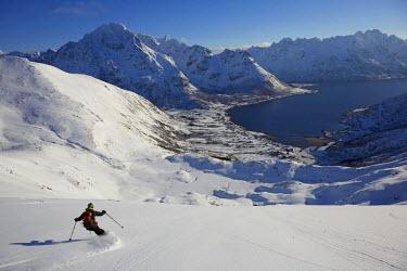 INT00927152 Norway, Skiing the Pilan summit, Austvagoya, Lofoten,