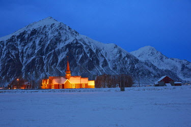 INT00927158 Norway, Church of Flakstad village in winter, Flakstadoya, Lofoten islands,