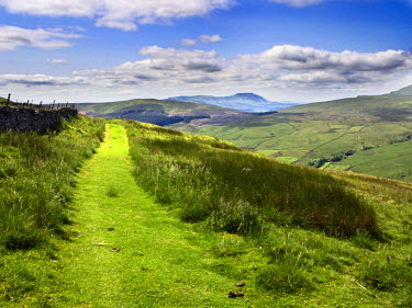INT01115673 Great Britain, England, Dent, The Penine Bridleway below Great Knoutberry Hill with Ingleborough in the Distance Dentdale Yorkshire Dales Cumbria