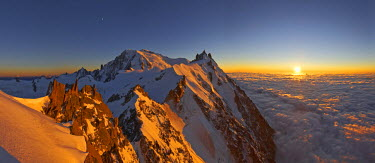 INT01128867 France, The Mont-Blanc (4810m) and aiguille du Midi (3842m) at sunset, Chamonix,