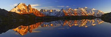 INT01128871 France, The Mont-Blanc range from the Cheserys lake, Chamonix,