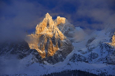INT01128930 France, Aiguille des Grands Charmoz (3445 m) in winter, Chamonix,
