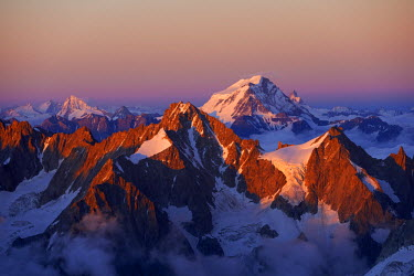 INT01128950 France, Aiguille de Talefre (3730 m) and Grand Combin (4314 m) in, Chamonix,