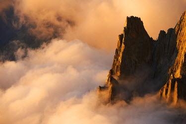 INT01128952 France, Aiguille du Peigne (3192 m) at sunset in summer, Chamonix,