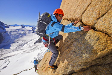 INT01128984 France, Alpinist climbing the aiguille du Plan (3673 m) in the Mont-Blanc range, Chamonix,