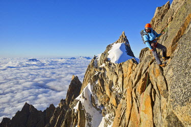 INT01128997 France, Alpinist climbing the aiguille du Plan (3673 m) in the Mont-Blanc range, Chamonix,