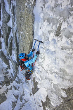 INT01129032 France, Alpinist climbing the icy Tour Ronde (3792 m) north face, Chamonix,