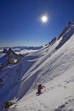 INT01129051 France, Alpinist on the aiguille du Chardonnet (3824 m) north face, Chamonix,