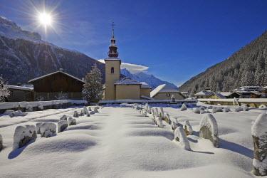 INT01129064 France, Chamonix valley, cemetery of Argentiere ski village in winter, Chamonix,