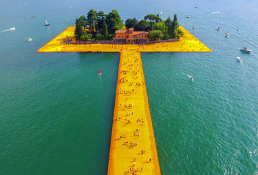 CLKAB46905 Aerial view of The Floating Piers in Iseo Lake, Brescia, Italy, Europe
