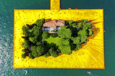 CLKAB46908 Aerial view of The Floating Piers in Iseo Lake, Brescia, Italy, Europe