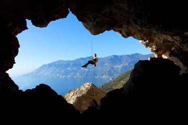 CLKAD36027 Europe,italy,Campania,Salerno district,Amalfi coast. Climber downhill