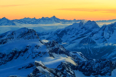 CLKGM45370 Sunrise view over the Alps from the top of Monte Rosa, Aosta Valley, Italy
