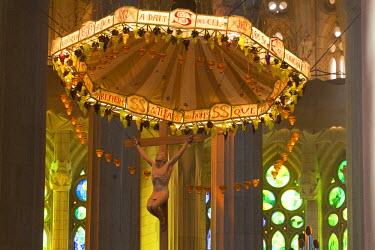 IBLBLO02185791 Church ceiling, altar with a baldachin or canopy of state, interior of Sagrada Familia, Basilica i Temple Expiatori de la Sagrada Familia, Basilica and Expiatory Church of the Holy Family, by Antoni G...