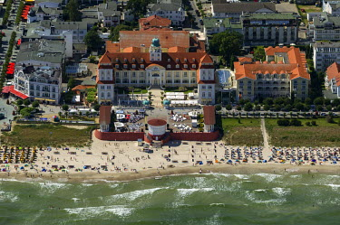 IBLBLO03027870 Aerial view, beach with the Kurhaus Binz spa resort in Binz on the island of Ruegen, Rugen, Binz, Mecklenburg-Western Pomerania, Germany