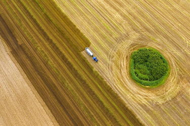 IBLBLO03092931 Aerial view, harvested field with a forest island, tractor spreading slurry, Gross Kedingshagen, Kramerhof, Mecklenburg-Western Pomerania, Germany