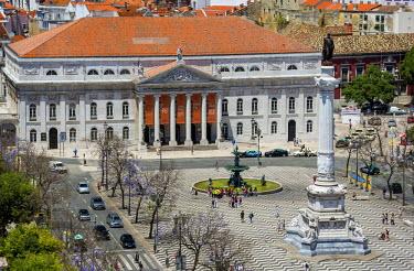 IBLBLO03714984 Teatro Nacional Dona Maria II, National Theatre on Praca Rossio square, Baixa, Lisbon, Lisbon District, Portugal