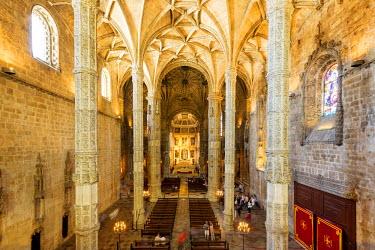IBLBLO03715049 Nave, Mosteiro dos Jeronimos, Jeronimos Monastery, UNESCO World Cultural Heritage Site, Belem, Lisbon, Lisbon District, Portugal