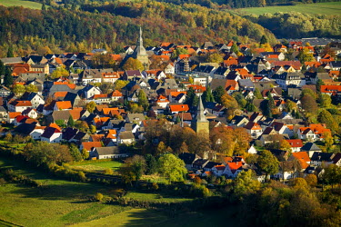 IBLBLO03788670 Aerial view, Johanneskirche church and Nikolauskirche church, Altenruthen, Ruthen, Sauerland area, North Rhine-Westphalia, Germany