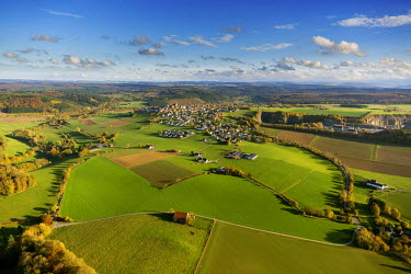 IBLBLO03788690 Aerial view, meadows at Kallenhardt, Ruthen, Sauerland area, North Rhine-Westphalia, Germany