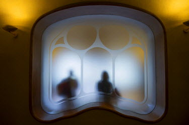 IBLDJS03579942 Window, Casa Batllo, designed by architect Antoni Gaudi, Barcelona, Catalonia, Spain